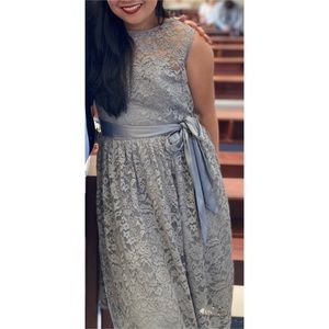 Tevolio Gray Lace Overlay Belt Cocktail Dress NEW
